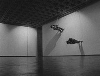 Trisha Brown. Still from <i>Walking on the Wall</i>, 1971. Film by Elaine Summers. © Trisha Brown Dance Company