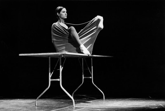 Peter Moore's photograph of Lucinda Childs in <em>Pastime</em>, 1963. Performed in <em>Surplus Dance Theater: Program Exchange</em>, New York, March 2, 1964. Credit: © Barbara Moore/Licensed by VAGA at ARS, NY. Courtesy Paula Cooper Gallery, New York.