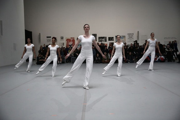 Lucinda Childs. <em>Interior Drama</em>. 1977. Performed in <em>Lucinda Childs: Early Works, 1963–78</em>, as part of <em>Judson Dance Theater: The Work Is Never Done</em>, The Museum of Modern Art, New York, September 16, 2018–February 3, 2019. Performers: Katie Dorn, Sarah Hillmon, Sharon Milanese, Caitlin Scranton, Shakirah Stewart. Digital image © 2018 The Museum of Modern Art, New York. Photo: Paula Court.