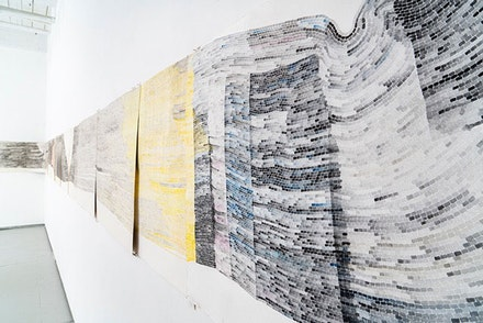 Shoshana Dentz, <em>A Year(s) of Untitled</em>, 2008 – present, Gouache, watercolor, and wax paper on paper, Currently 22 x 450 inches. Photo: Frank Oudeman.