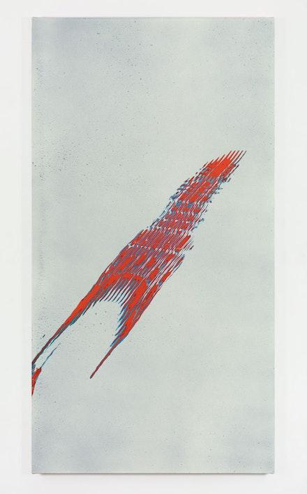 Tauba Auerbach, <em>Grain - Chiral Fret Arc 1</em>, 2017. Acrylic on canvas, 90 x 48 inches. &copy; Tauba Auerbach. Courtesy Paula Cooper Gallery, New York. Photo: Steven Probert.