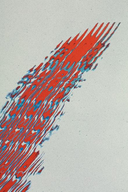 Tauba Auerbach, <em>Grain - Chiral Fret Arc 1 </em>(detail), 2017. Acrylic on canvas, 90 x 48 inches. &copy; Tauba Auerbach. Courtesy Paula Cooper Gallery, New York. Photo: Steven Probert.