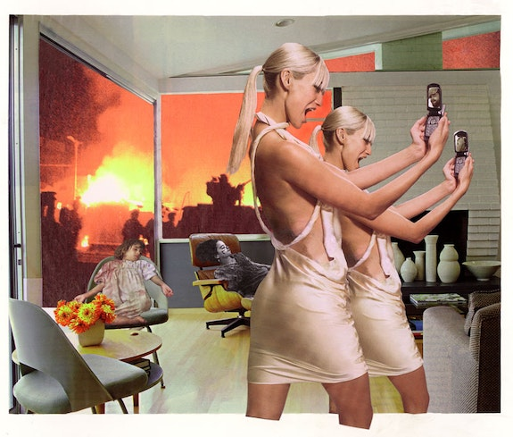 Martha Rosler, <em>Photo-Op</em>, from the series <em>House Beautiful: Bringing the War Home, New Series</em>, 2004. Photomontage. Courtesy the artist and Mitchell-Innes & Nash, New York. © Martha Rosler.