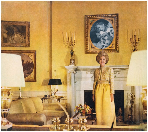 Martha Rosler, <em>First Lady (Pat Nixon),</em> from the series <em>House Beautiful: Bringing the War Home</em>, c. 1967-72, Photomontage. Courtesy the artist and Mitchell-Innes & Nash, New York. © Martha Rosler.