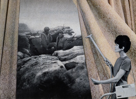 Martha Rosler, <em>Cleaning the Drapes</em>, from the series <em>House Beautiful: Bringing the War Home</em>, c. 1967-72. Photomontage. Courtesy the artist and Mitchell-Innes & Nash, New York. © Martha Rosler.