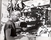 <p>Roy in his 29th Street studio working on <em>Red Barn Through the Trees</em> (1984), 1984. Photograph by Robert McKeever. Artwork © Estate of Roy Lichtenstein. Courtesy The Roy Lichtenstein Foundation Archives.</p>