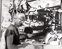 <p>Roy in his 29th Street studio working on<em>Red Barn Through the Trees</em>(1984), 1984. Photograph by Robert McKeever. Artwork © Estate of Roy Lichtenstein.Courtesy The Roy Lichtenstein Foundation Archives.</p>