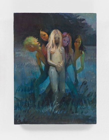 Lisa Yuskavage, Little Hippies, 2013. Oil on wood panel, 8 x 6 inches. © Lisa Yuskavage. Courtesy the artist and David Zwirner.