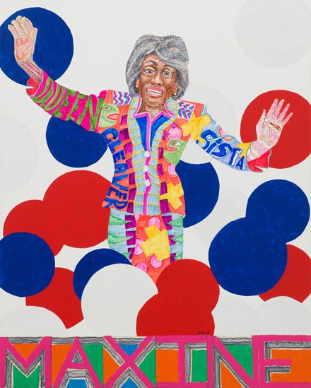 Peter Williams, <em>Queens (Maxine Waters)</em>, 2018. Oil-based enamel and pencil on canvas, 60 x 48 inches. Image courtesy of the artist and Luis De Jesus Los Angeles.