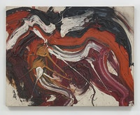Kazuo Shiraga,<em> Kaku Rou (Threatening Wolf)</em>, 1963. Oil paint on canvas. 91.4 x 116.8 x 3.2 cm / 36 x 46 x 1 1/4 in. © Kazuo Shiraga. Photo: Genevieve Hanson.