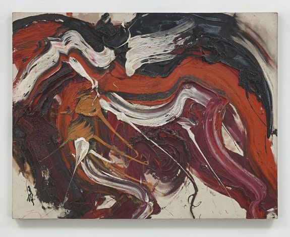 Kazuo Shiraga,<em> Kaku Rou (Threatening Wolf)</em>, 1963. Oil paint on canvas. 91.4 x 116.8 x 3.2 cm / 36 x 46 x 1 1/4 in. &copy; Kazuo Shiraga. Photo: Genevieve Hanson.