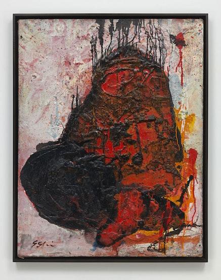 Shozo Shimamoto, <em>Untitled</em>, 1961. Oil, mixed media on canvas. 117.5 x 91.4 x 2.5 cm / 46 1/4 x 36 x 1 in. &copy; Shozo Shimamoto. Photo: Genevieve Hanson.
