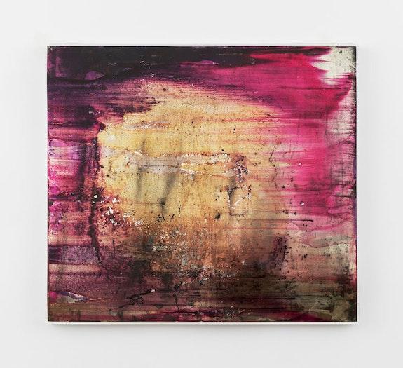 Tsuruko Yamazaki, <em>Work</em>, 1957.Aniline dye on tin. 73.3 x 82.7 cm / 28 7/8 x 32 1/2 in.© Tsuruko Yamazaki. Photo: Timothy Doyon.