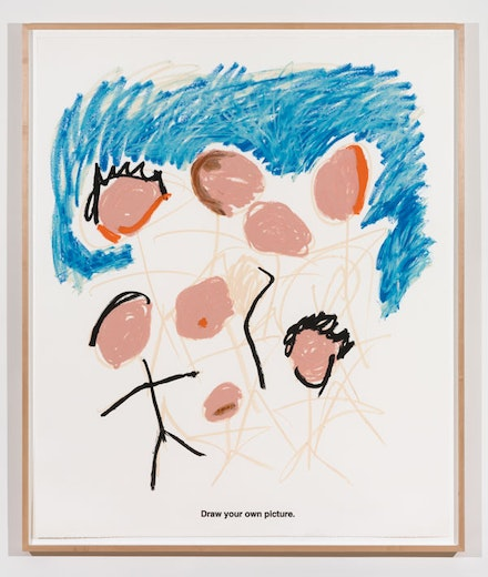 Sable Elyse Smith, <em>Coloring Book 20</em>, 2018. Screen printing ink and oil stick on paper. 60 x 50 inches. Courtesy JTT New York