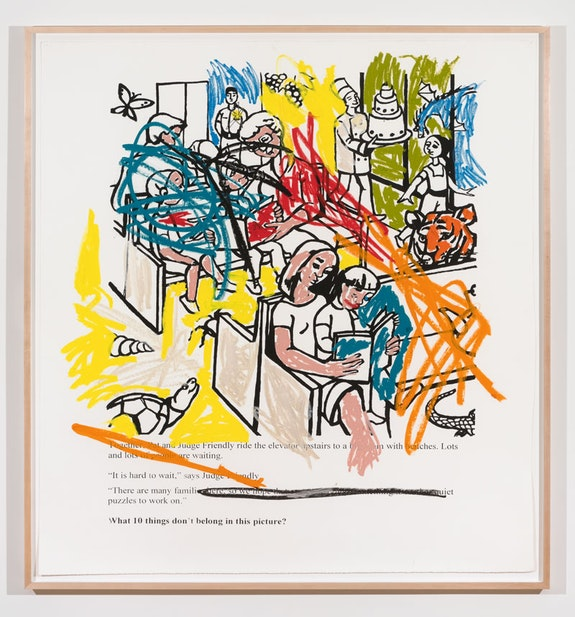 Sable Elyse Smith, <em>Coloring Book 6</em>, 2018. Screen printing ink and oil stick on paper. 60 x 56 inches. Courtesy JTT New York.