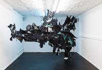 Tau Lewis, <em>the sighting of the last shadow dweller (original sea kin)</em>, 2018. Hand sewn recycled fabrics and leathers, dimensions variable. Courtesy the artist and Shoot The Lobster, NY.
