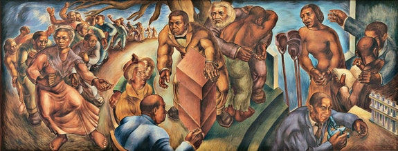 Charles White, <em>Five Great American Negroes</em>, 1939. Oil on canvas, 60 x 155 inches. From the Collection of the Howard University Gallery of Art, Washington D.C. © The Charles White Archives. Photo: Gregory R. Staley.
