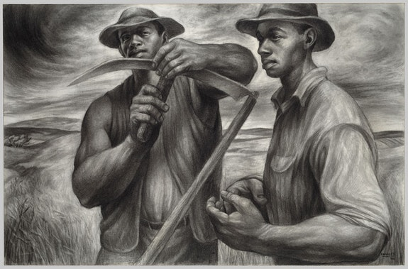 Charles White, <em>Harvest Talk,</em> 1953. Charcoal, Wolff's carbon drawing pencil, and graphite, with stumping and erasing on ivory wood pulp laminate board. 26 x 39 1/16 inches. The Art Institute of Chicago. Restricted gift of Mr. and Mrs. Robert S. Hartman. © 1953 The Charles White Archives.