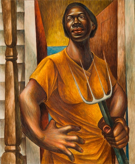 Charles White, <em>Our Land</em>, 1951. Egg tempera on panel, 24 x 20 inches. Private Collection. © The Charles White Archives. Photo: Gavin Ashworth. Courtesy Jonathan Boos.