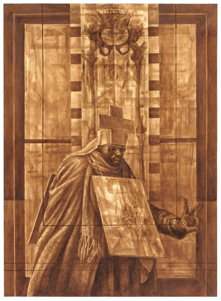 Charles White. <em>Black Pope (Sandwich Board Man)</em>, 1973. Oil wash on board. 60 x 43 7/8 inches. The Museum of Modern Art, New York. Richard S. Zeisler Bequest (by exchange), The Friends of Education of The Museum of Modern Art, Committee on Drawings Fund, Dian Woodner, and Agnes Gund. © 1973 The Charles White Archives. Photo: Jonathan Muzikar, The Museum of Modern Art Imaging Services.