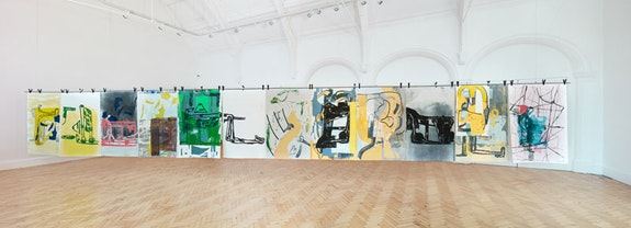 Amy Sillman, <em>Dub Stamp</em>, 2018. A multi-part series of double-sided acrylic, ink, and silkscreen works on paper, 152.5 x 101.5 cm each (Verso/Back). Image: Damian Griffiths. Courtesy Camden Arts Center