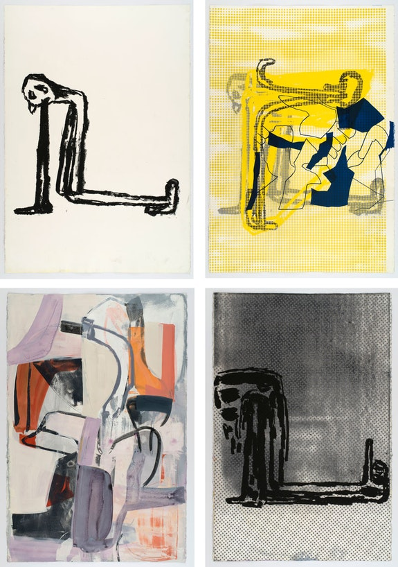 Clockwise from top left: Amy Sillman, <em>Dub Stamp (1A back)</em>, 2018, <em>Dubstamp (1A)</em>, 2018. <em>Dubstamp (7A)</em>, 2018, <em>Dubstamp (7A back)</em>, 2018. Acrylic, ink, and silkscreen on paper, 60 x 40 inches each. © Amy Sillman. Courtesy the artist. Photo: John Berens.