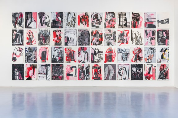 Amy Sillman, <em>Pink Drawings</em>, 2015 – 16, Acrylic, charcoal, and ink on paper, 76 x 57 cm each. Courtesy Camden Arts Center.