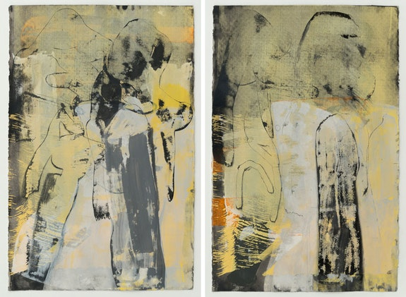 Amy Sillman, <em>SK37, SK38</em>, 2017. Acrylic, ink and silkscreen on paper, 40 1/8 x 26 inches each. ©Amy Sillman, courtesy the artist and Gladstone Gallery, New York and Brussels.