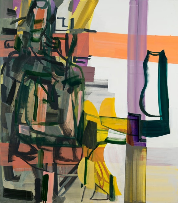 Amy Sillman, <em>The Dark Space of Speech</em>, 2018. Oil and acrylic on canvas, 75 x 66 inches. © Amy Sillman. Courtesy the artist Photo: John Berens.
