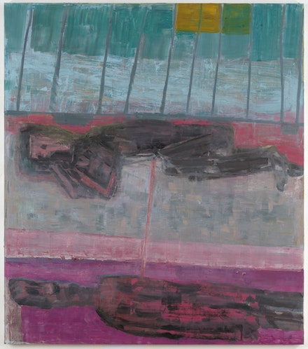 Amy Sillman, <em>In Illinois</em>, 2017–18. Oil on canvas, 75 x 66 inches.  © Amy Sillman. Courtesy the artist. Photo: John Berens.