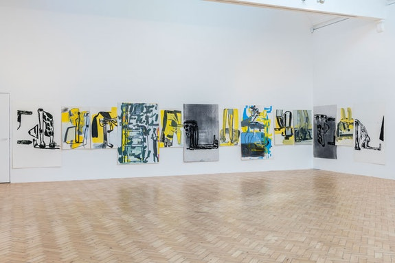 Amy Sillman, <em>Rebus for Camden</em>, 2017 – 18. Acrylic, ink, gouache and silkscreen works on paper, Dimensions variable. Image: Damian Griffiths.