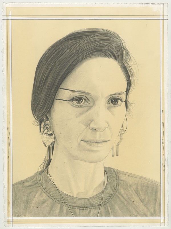 Portrait of Tauba Auerbach, pencil on paper by Phong Bui.