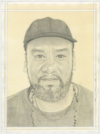 Portrait of Jeffrey Gibson, pencil on paper by Phong Bui.