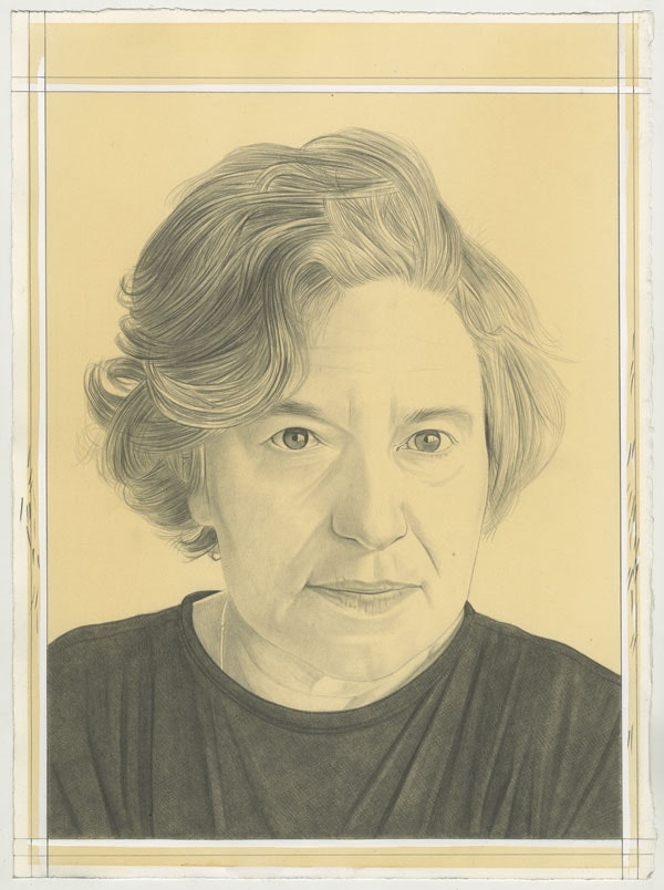 Portrait of Amy Sillman, pencil on paper by Phong Bui.