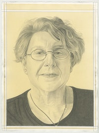 Portrait of Martha Rosler, pencil on paper by Phong Bui.