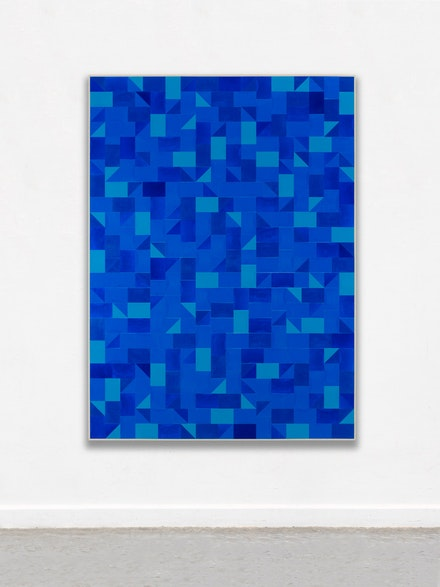 Gregor Hildebrandt, <em>Ins Blaue</em>, 2018. Cut vinyl records, acrylic, canvas, wood, 75.6 x 55 in. Courtesy of the artist and Perrotin.