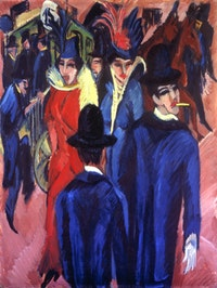 "Ernst Ludwig Kirchner (1880-1938), ""Berlin Street Scene,"" (1913-14). Oil on canvas, 121a x 95 cm, 47.6 x 37.4"". Neue Galerie, New York, and Private Collection, New York."