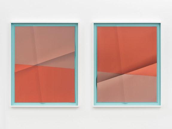 John Houck, <em>Accumulator #20, 3 Colors #B2DAE5, #B4867B, #B46E5C</em>, 2018. Creased archival pigment print (unique). Framed, each: 32 5/8 x 26 3/4 inches. Courtesy the artist and Marianne Boesky Gallery, New York and Aspen. © John Houck. Photo: Object Studies.