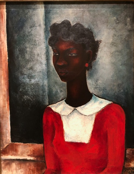 Charles Alston, <em>Girl in a Red Dress,</em> 1934. Oil on canvas, 28 × 22 in. (71.1 × 55.9 cm). Collection Harmon and Harriet Kelley Foundation for the Arts, San Antonio.