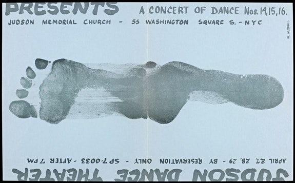 Poster for Judson Memorial Church presents <em>Concerts of Dance #14, #15, and #16. </em>April 27, 28, and 29, 1964. Offset print. 10 3/16 x 16 9/16 inches. Yvonne Rainer Papers Archive, The Getty Research Institute, Los Angeles