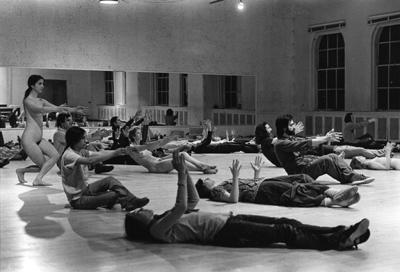 Babette Mangolte's photograph of David Gordon, Valda Setterfield, and unidentified performers in <em>The Matter</em>, 1972. Performed at Merce Cunningham Studio, New York, 1972. © Babette Mangolte