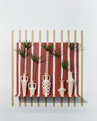 Emily Mullin,<em> Top 5</em>, 2018. Ceramic vessel, painted steel, flora, 32 x 38 x 8 inches. Courtesy the artist and Jack Hanley Gallery.