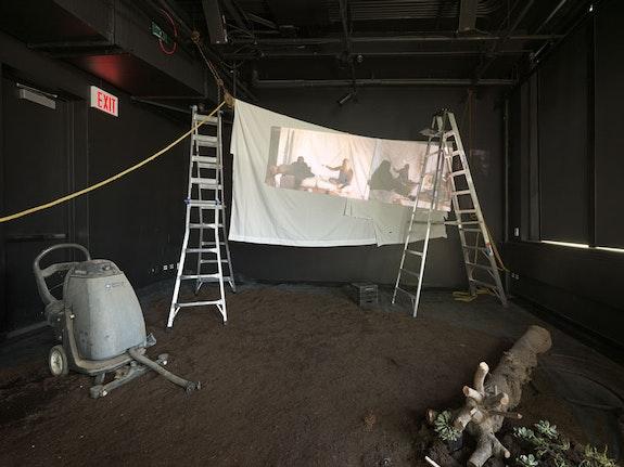 American Artist, Caitlin Cherry, Nora N. Khan, and Sondra Perry, <em>A Wild Ass Beyond: ApocalypseRN</em>, installation view, Performance Space, 2018. Photo: Genevieve Hanson.