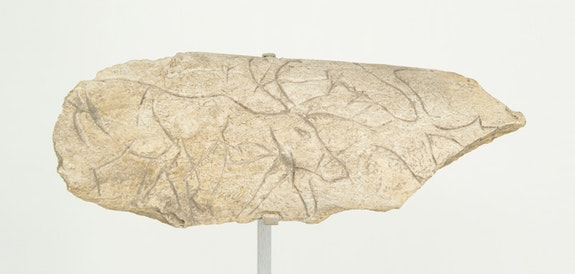 <em>Fragment Depicting Reindeer</em>, 15,000–9,000 BCE. Upper Paleolithic, Magdelenian. Site Unknown. Bone, 1 1/2 x 4 1/4 x 3/4 inches. The Menil Collection, Houston. Photo: Paul Hester.