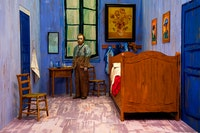 Yasumasa Morimura, <em>Self-Portraits through Art History (Van Gogh's Room)</em>, 2016. Color photograph, 57 x 86 inches. © Yasumasa Morimura; Courtesy the artist and Luhring Augustine, New York.