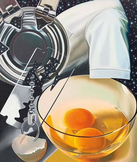 James Rosenquist, <em>Untitled (Between Mind and Pointer), </em>1980. Oil on canvas, 78 x 66 inches. The Museum of Modern Art, New York; Gift of Philip Johnson, 1998. Digital Image © The Museum of Modern Art/Licensed by SCALA / Art Resource, NY. © Estate of James Rosenquist / Licensed by VAGA at ARS, New York.