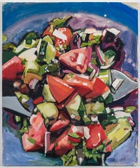 Walter Robinson, <em>Joy's Salad</em>, 2018. Acrylic on canvas, 72 x 60 inches. Courtesy Johannes Vogt.
