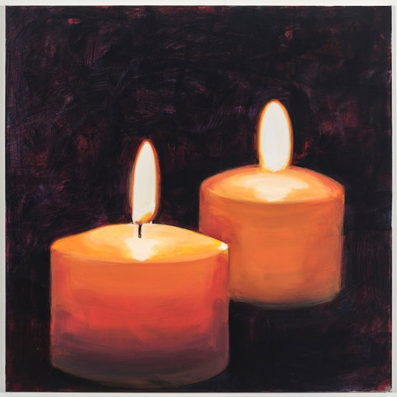 Walter Robinson, <em>Spa Candles</em>, 2018. Acrylic on canvas, 36 x 36 inches. Courtesy Johannes Vogt.