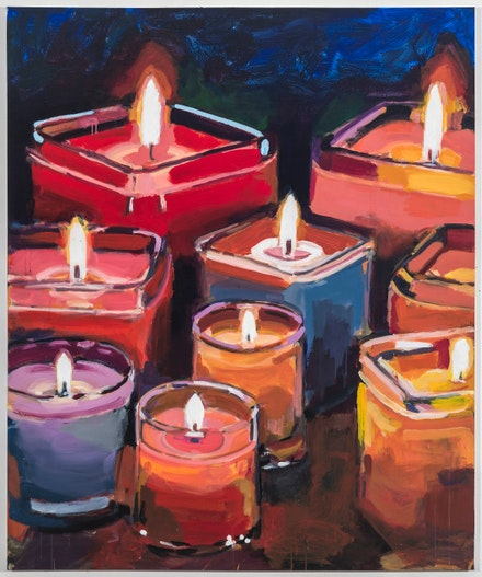 Walter Robinson, <em>Candles</em>, 2018. Acrylic on canvas, 36 x 36 inches. Courtesy Johanne Vogt.