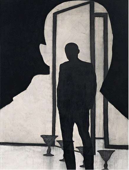 Max Neumann, <Em>Untitled, November</em>, 2013. Acrylic and charcoal on canvas, 78 5/8 x 59 inches. Courtesy Bruce Silverstein Gallery.